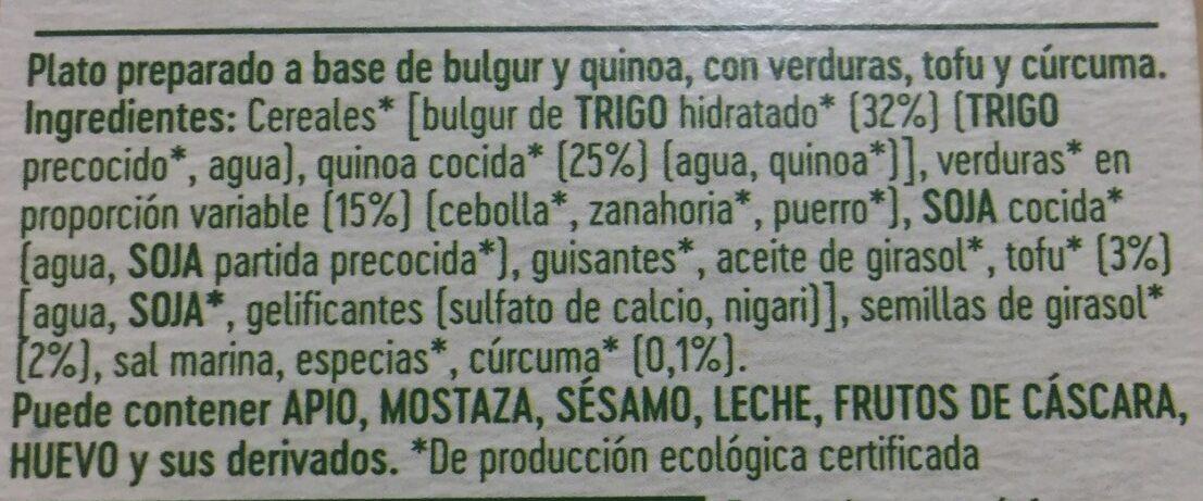 Quinoa y bulgur con tofu y verduras salteadas - Ingrédients - es