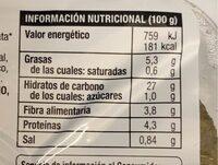 Hamburguesa verduras - Informations nutritionnelles - es
