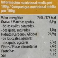Quinoa con verduras y algas - Información nutricional