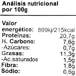 Frankfurt vegetal de tofu - Informations nutritionnelles - es