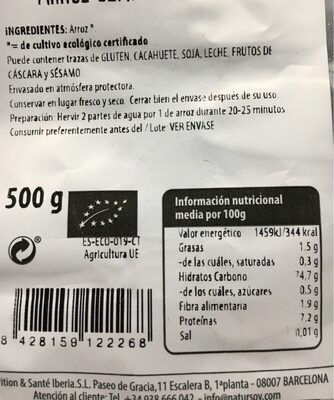 Arroz semi/integral Thai - Informations nutritionnelles - es