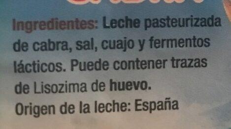 QUESO FRESCO DE CABRA - Ingrediënten - es