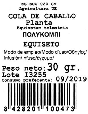 Cola de caballo - Ingredientes