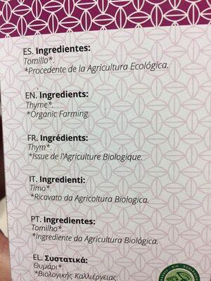 Artemis Tomillo Bio 20F - Ingredientes - es