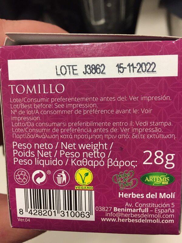 Artemis Tomillo Bio 20F - Información nutricional - es