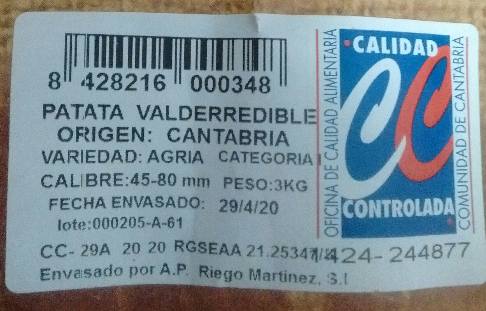 Patata Valderredible - Ingredientes - es