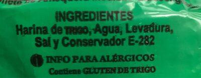 Medio mollete Antequera - Ingredientes