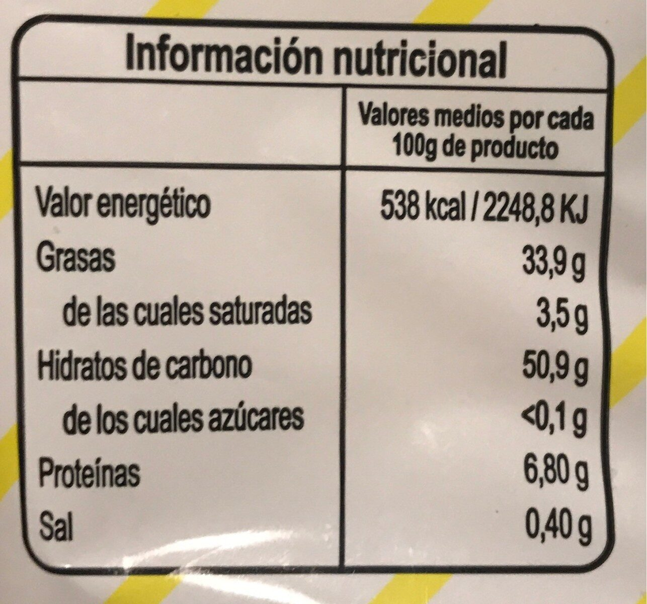 Patatas Adamuceñas - Nutrition facts