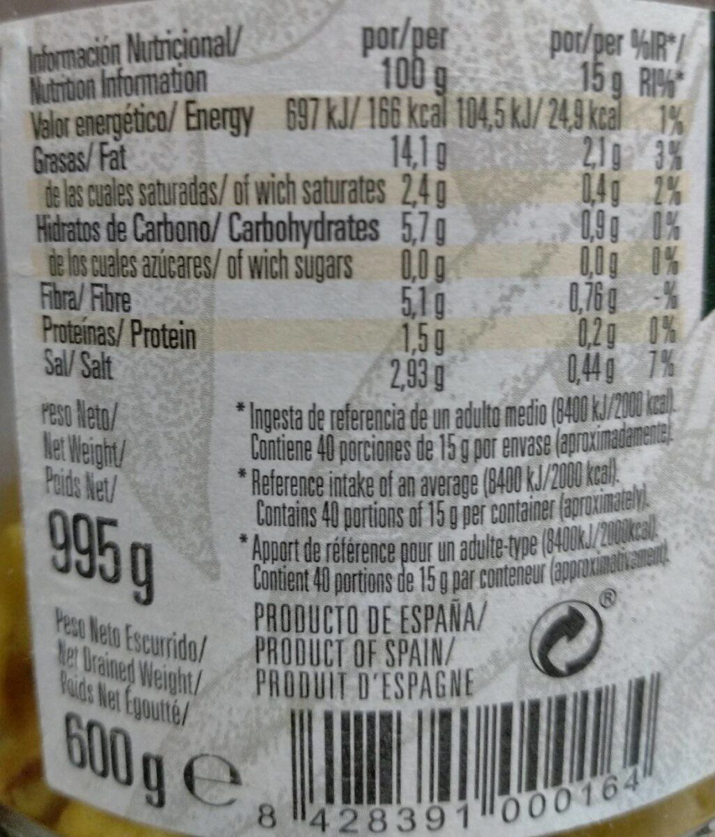 Aceitunas manzanilla - Informació nutricional - es