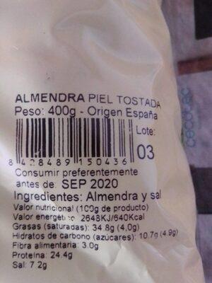 Almendra piel tostada - Información nutricional - es