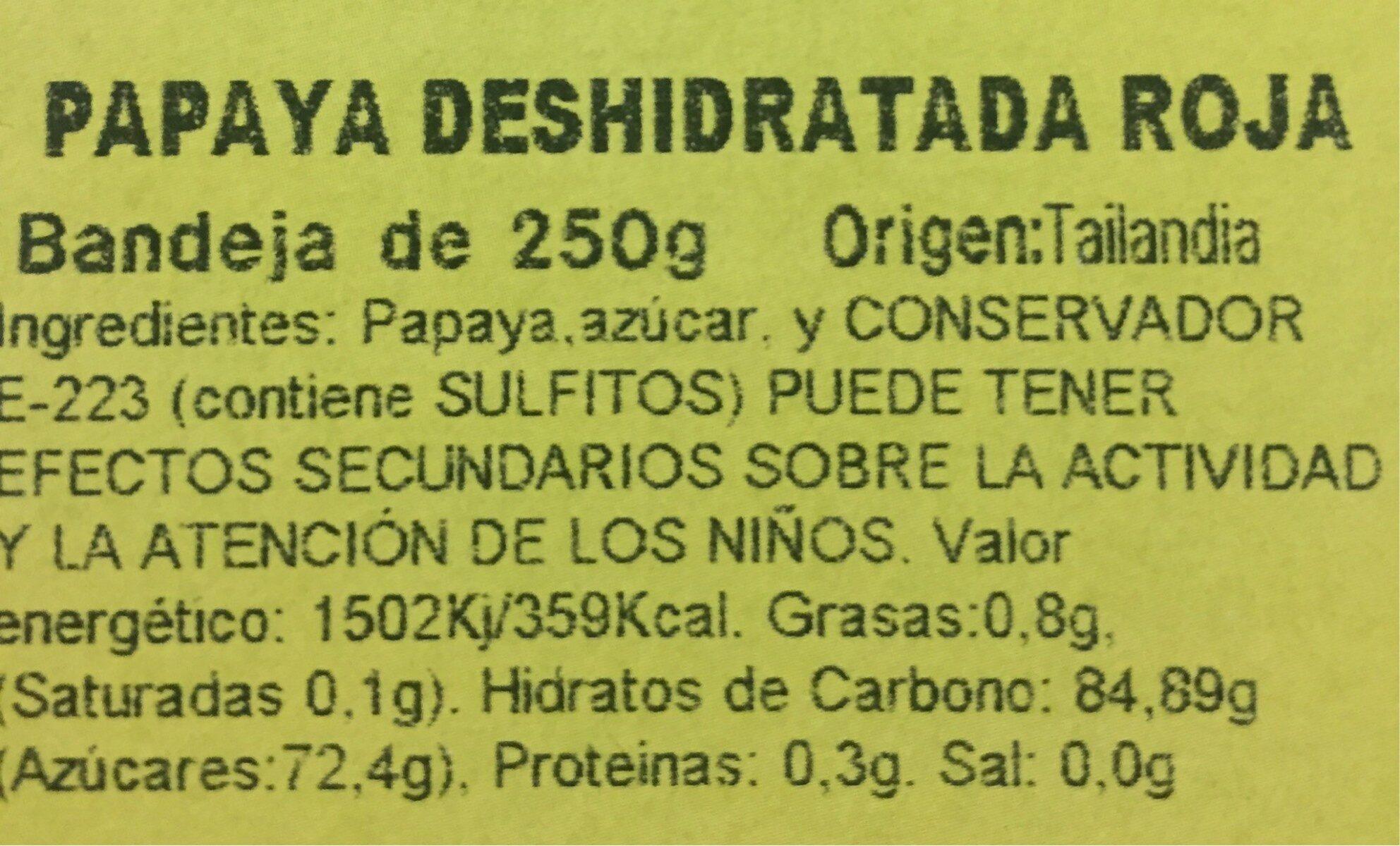 Papaya deshidratada roja - Información nutricional - es