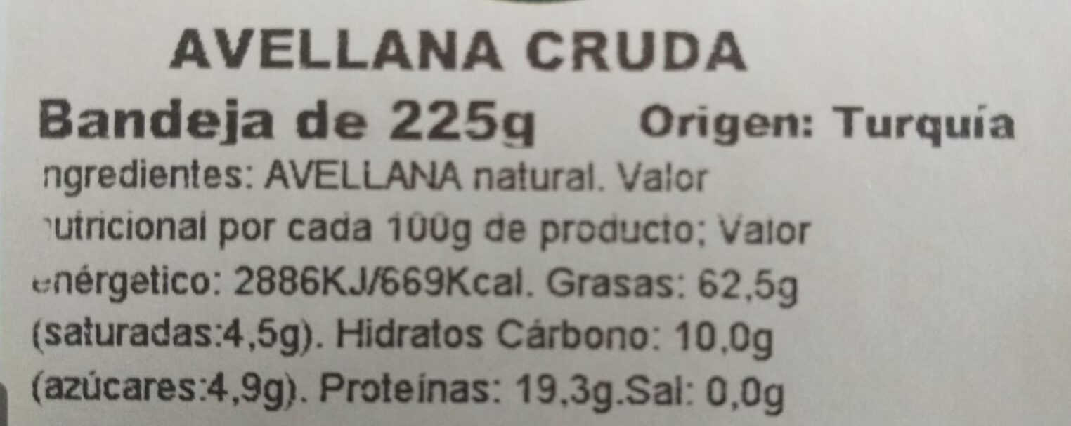 Avellana cruda - Ingredientes