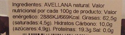 Avellana cruda - Información nutricional - es