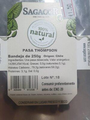 Pasa thompson - Información nutricional - es