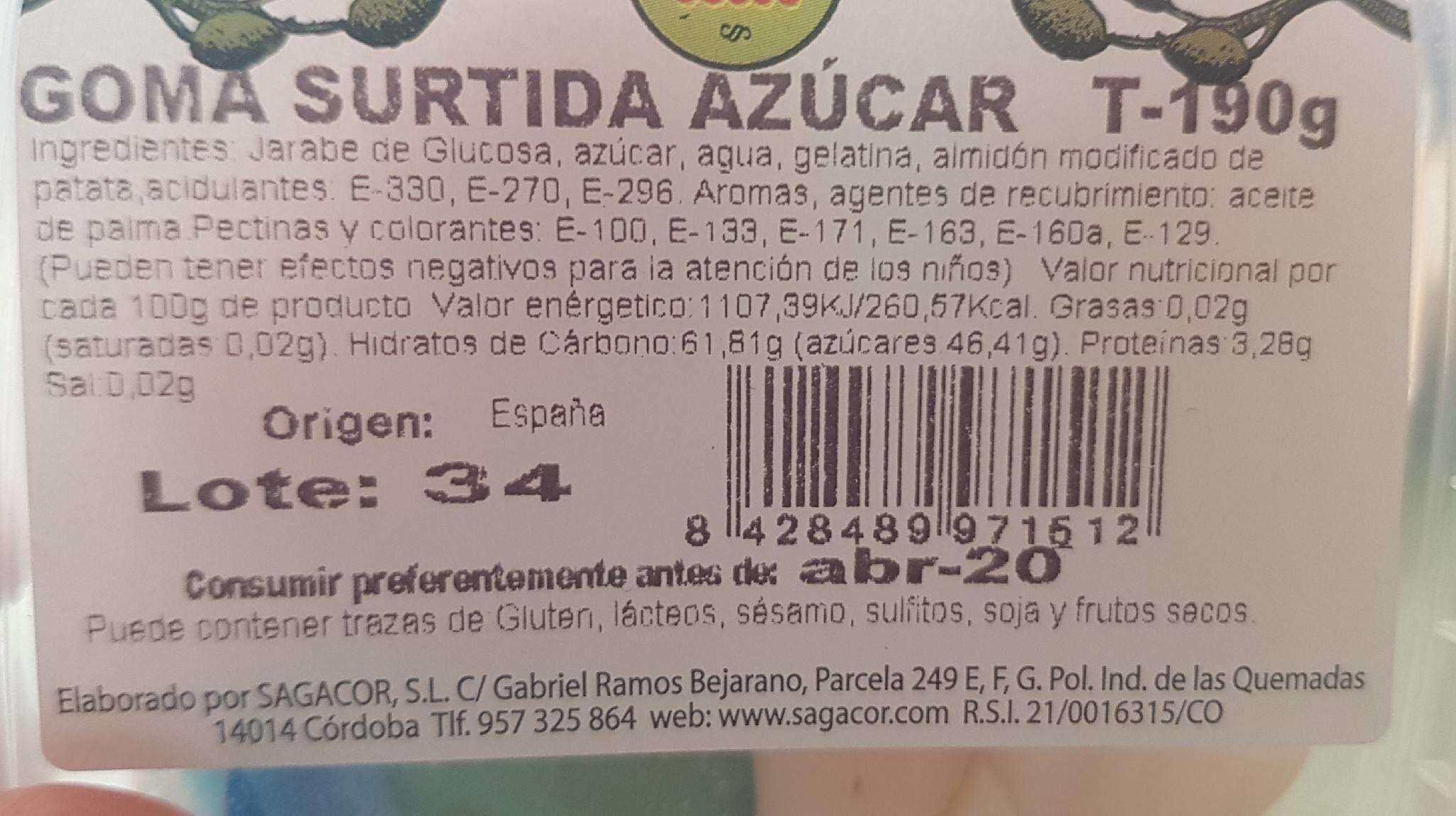 Goma surtida azúcar - Información nutricional - es