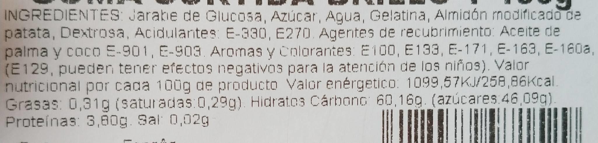Goma surtida brillo - Información nutricional - es
