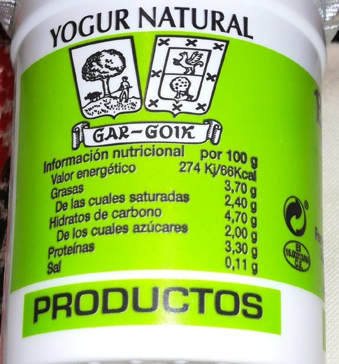 Yogur natural - Nutrition facts