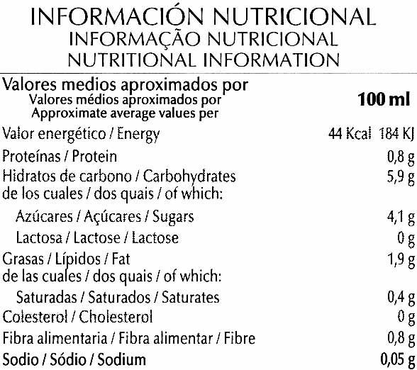 Bebida de almendras de cultivo ecológico - Información nutricional - es