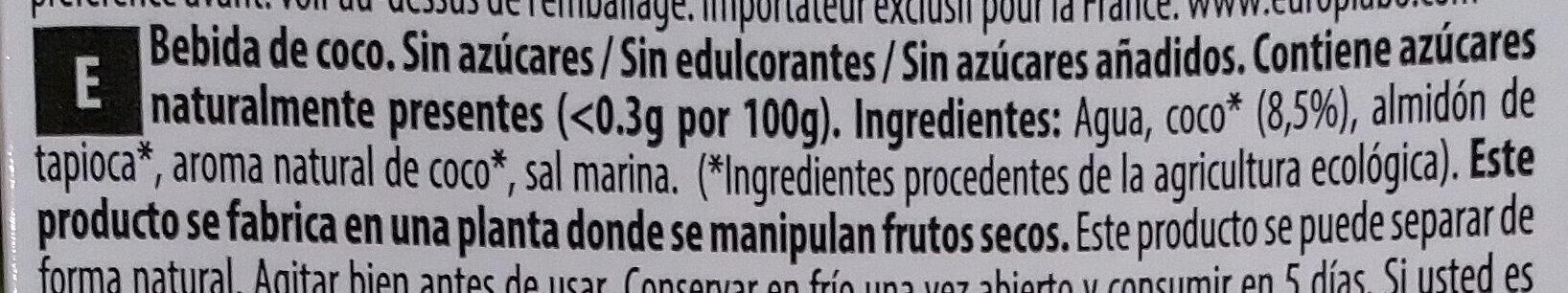 Coconut milk - Ingredientes - es