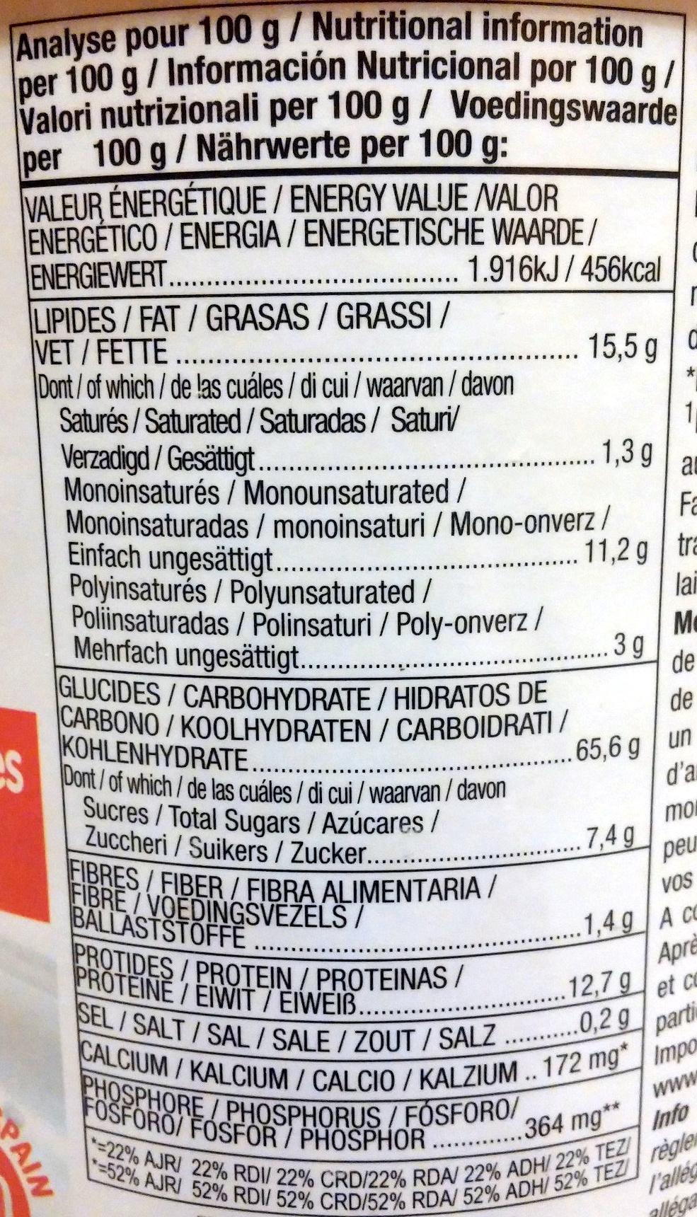 Lait d'amande nature en poudre - Informations nutritionnelles