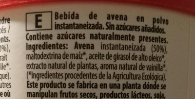 Bebida Avena Nature - Ingredientes