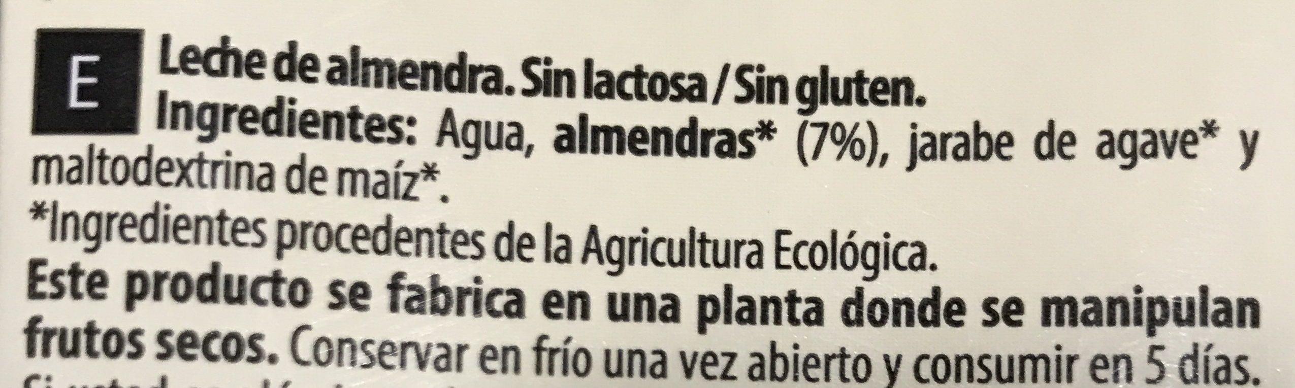 Bebida Almendra Original - Ingredientes