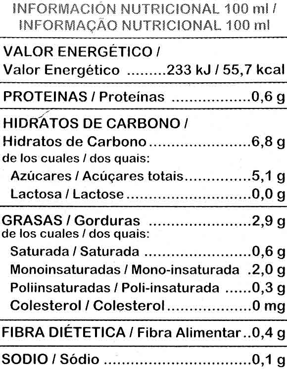 Bebida De Avellanas - boisson noisettes 1 L - Información nutricional - es