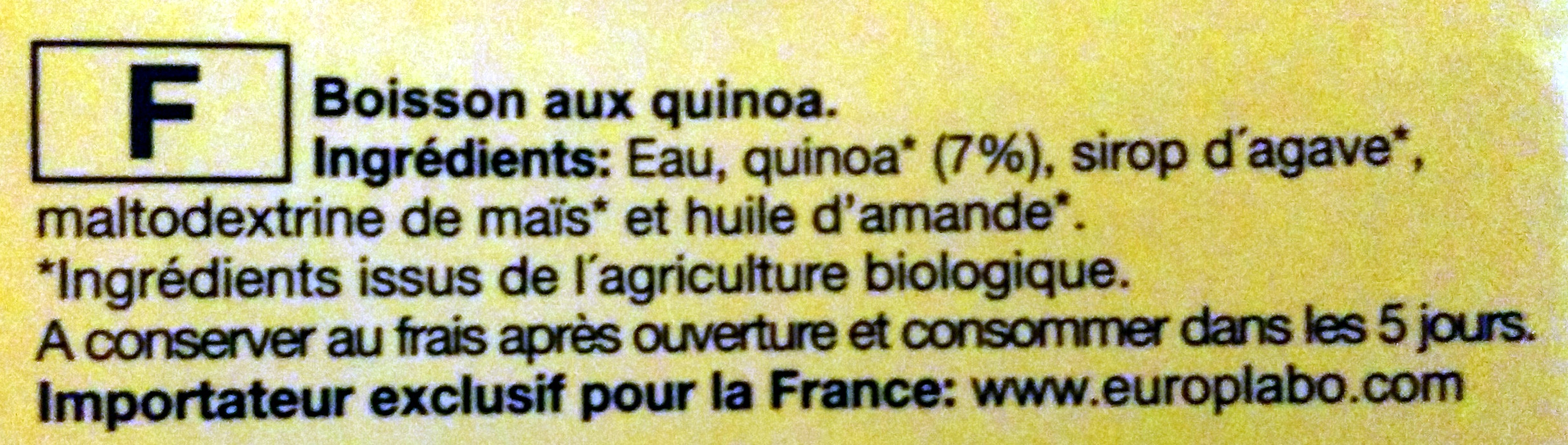 Boisson au quinoa agave Bio - Ingredients - fr