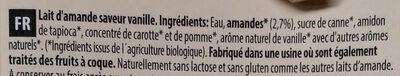 Boisson Amande Vanille - Ingrédients - fr