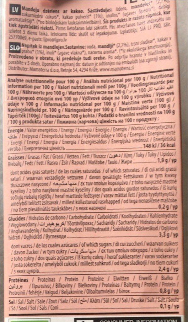 Lait de Amande - Informations nutritionnelles - fr