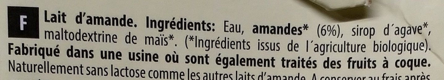 Amande Original - Ingrédients - fr