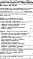 Bebida de chufa - Informació nutricional
