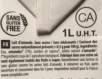 Lait d'amande sans sucres ajoutés - Ingredientes