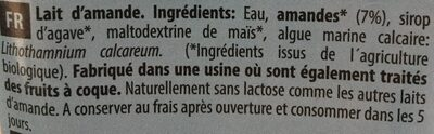 Boisson Amande Calcium - Ingredients - fr