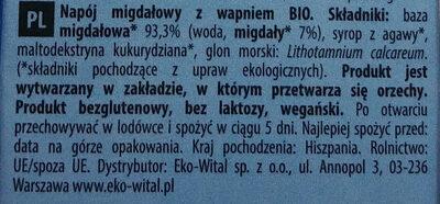 Boisson Amande Calcium - Składniki - pl