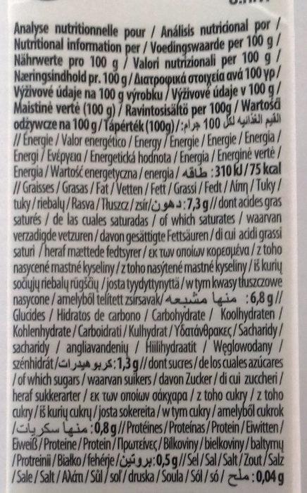 Lait de coco - Informació nutricional - es