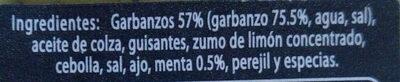 Hummus a la Menta - Ingrediënten - es