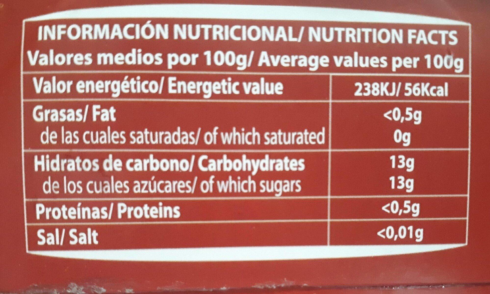 Piña rodajas en su jugo - Informations nutritionnelles - es