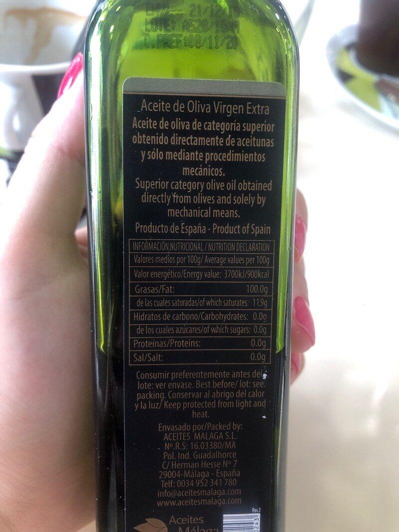 Aceite de oliva virgen extra La Flor de Málaga - Nutrition facts