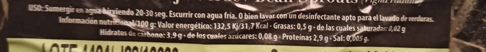 Brotes de soja tallos verdes - Informations nutritionnelles - es
