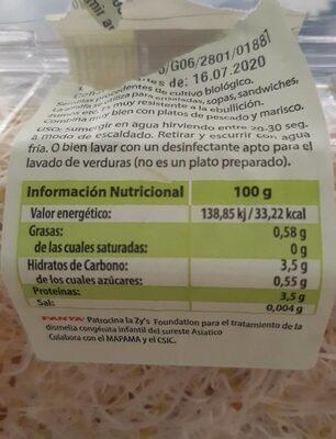 Germinados de alfalfa tarrina - Información nutricional - es