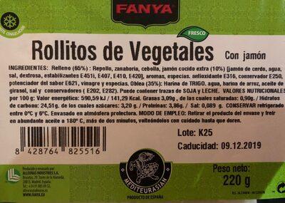 Rollitos de vegetales con jamon - Información nutricional
