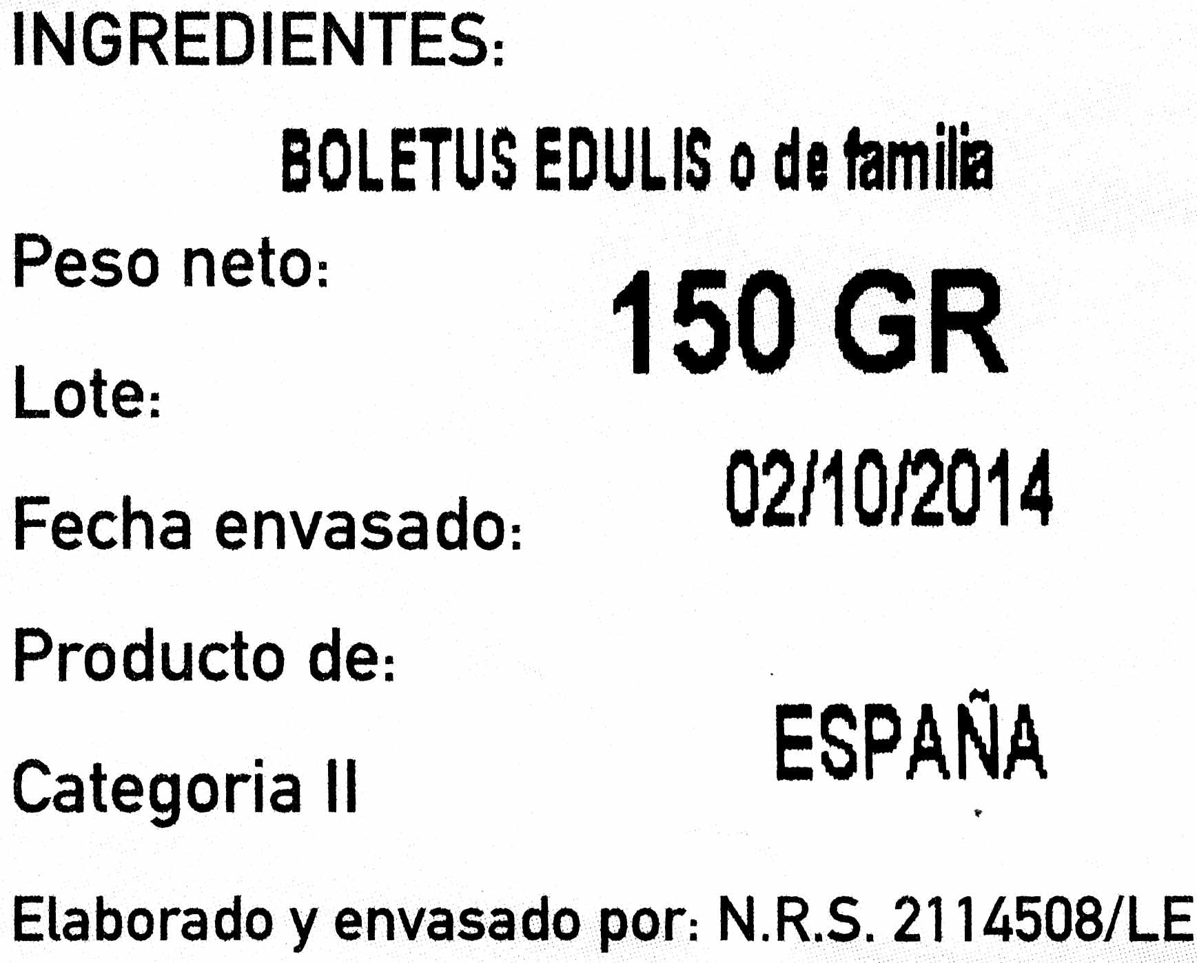 Boletus edulis - Ingredientes