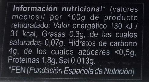 Angula de Monte Seca - Informació nutricional