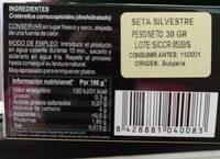 Trompeta negra seca - Nutrition facts - es
