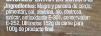 Chorizo dulce - Nährwertangaben