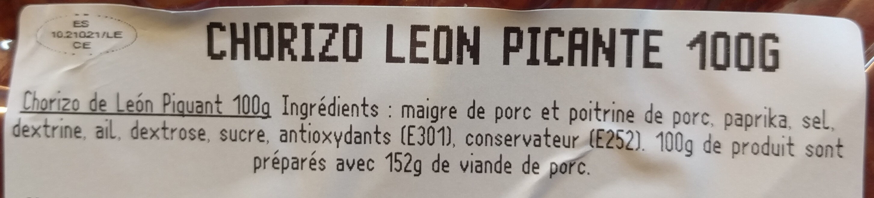 Chorizo de Leon picante - Ingrediënten - fr