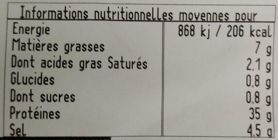 Viande séchée de boeuf - Informations nutritionnelles - fr