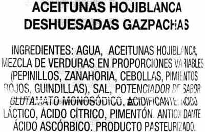 Aceitunas verdes deshuesadas aliñadas - Ingredientes - es