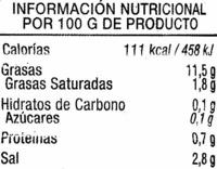 Aceitunas verdes deshuesadas aliñadas - Información nutricional - es